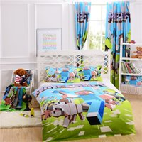 100% Cotton bed - 100 Original Cotton Minecraft Bedding Curtain Pillow Case Bedroom Bed in a Bag Single Double Queen Size for Fans