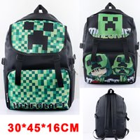 nylon waterproof zipper - Minecraft Creeper Waterproof Backpack Shoulder Bag Double Zipper Cartoon Nylon School Bags Green Style Minecraft Backpack For Children