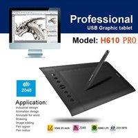 Wholesale 100 Genuine Huion H610PRO quot x quot LPI Art Graphics Drawing Digital tablet grafica tableta Rechargeable Pen