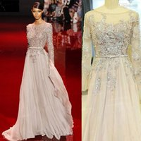 Cheap Real Pictures 2014 Elie Saab Evening Gowns Long Sleeve See Through Sheer Neck Beads Crystal A Line Chiffon Sheer Celebrity Red Carpet Dress