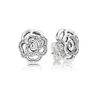 Wholesale 2015 Summer Collection Silver Earring Rose Earring With Clear Cz Fits For European Style Pandora Jewelry Designs CE680