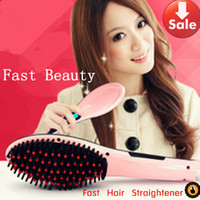 Wholesale Fast Hair straightener with LCD Display Pink White Straightening Hair Comb