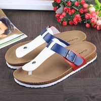 Wholesale New Hot sell summer woman men flats Birkenstock sandals Cork slippers unisex casual shoes print mixed colors flip flop