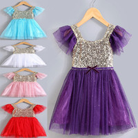 baby cotton frocks - 2016 Summer New Arrival Children Dresses Girl Sparkly Sequin Dress With Colors Cute Baby Girl Lace Tutu Princess Dress Kids Summer Frocks