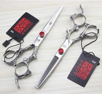 Wholesale 6 inch Japan KASHO screws ruby fire Carpenter hairdressing scissors barber scissors flat cut teeth cut bangs thinning scissors