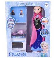 Wholesale Frozen Elsa Anna Doll Kitchen Set inches New Joints Movable Toy Action Figure for Girls Birthday Christmas Gifts