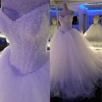 Wholesale Luxury Crystal And Beads V neck Bodice Corset Ball Gown Wedding Dress Vestidos De Novia Real Custom Made Long Vintage Bridal Gowns