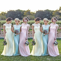 Cheap 2016 New Junior Honor Of Bridesmaid Dresses Formal Gown With Sheer A Line Scoop Full Lace Top Cap Sleeve Chiffon Pink Mint Floor Length