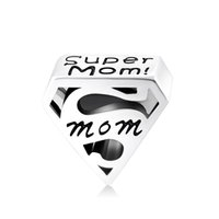 mothers day gift - New Hot sale sterling silver super mom charms for mothers day gifts fit Pandora style jewelry bracelets No60 T008