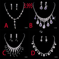 Wholesale 3 In Stock Silver Plated Pearl Rhinestone Bridal Necklace Earrings Jewellery Set