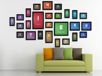 wood photo frame - wood material pieces photo frames combination set