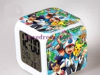 best pocket radios - Hot Sales Piece Pocket Monster colors change LED digital clock desktop clocks despertador digital best alarm clock gift for kids