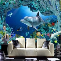 wall decoration wallpaper - 3D Wall Mural Underwater World Large Wallpaper Interior Art Decoration Cute Fish Dolphin Bedroom Hallway TV background wall