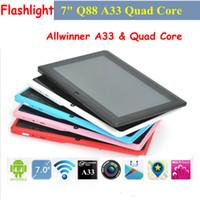 Wholesale Cheap Quad Core Tablet PC Inch Q88 A33 GHz Android OS FlashLight Wifi Dual Camera GB M RAM Multi Touch Capacitive Q8 PB7 Q8L
