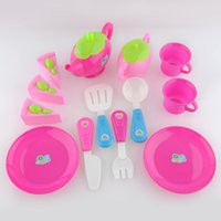 Wholesale Christmas gifts Set Plastic Pretend Play Toy Set Afternoon Tea Dishes Dessert Food Teapot