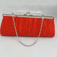 Wholesale 2014 New Satin Pleated Wedding Bridal Clutch Elegant Purse Lady Handbag Evening Party Bag