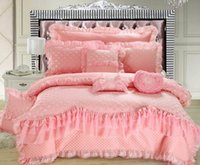 100% Cotton Wedding Woven Cotton denim bed skirt pink lace cotton quilt  embroidered lace wedding