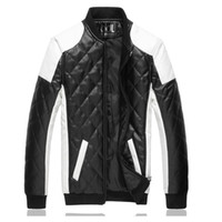 Wholesale 2016 New Autumn Winter White Pu Leather Jacket Fashion Design Mens Slim Fit Wintproof Motocycle Biker Jacket Brand Jaqueta Couro Y210