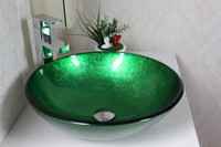 Wholesale Contemporary Gold Fish Vessel sink Tempered Glass Vessel Sink With Faucet Set N
