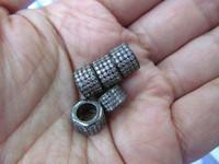 Wholesale 30 off mm AAA grade pave cubic zirconia micro column barrel drum gunmetal assortment charm connector