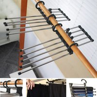 Wholesale 2014 New Hand held Folding Hangers Retractable Rack Stainless Steel For Closet Neatening Storage To RU