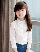 girls white shirts - Lace Girl Shirt Girls T shirts Pleated Collar Long Sleeve White Shirts Kids Clothes Spring Korean Style Cotton Children Clothing I2690