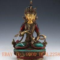 arts tibetan buddhist - Tibet Brass Gilt turquoise Tibetan Buddhist Buddha Statue Vajrasattva