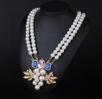 Cheap Fashion statement necklace collar pearl jewelry High Quality pearl Inlay diamond Pendants long necklaces for women 2014