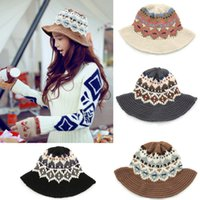 Stingy Brim Hat Top Hats Woman New Fashion Knitted Women Bucket Hat Jacquard Pattern Crochet Vintage Winter Fisherman Hat H3150