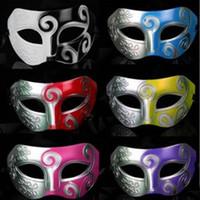 Wholesale Classic Retro Greek Roman Soldier Mask Party Masquerade Ball Mardi Gras Facial Eye Mask Men Carnival Cosplay Decoration Gift