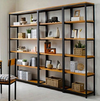 american bookshelf - American country wrought iron racks wood storage shelves shelf bookshelf multi floor shelves