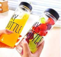 Wholesale 500ml Korea Style Newest Design Portable Clear My Bottle Sport Bicycle Plastic Fruit Lemon Juice Water Cup