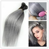 Cheap hot sale 3Pcs lot 8A Brazilian Virgin Ombre Straight Hair Extensions 1b Grey Two Tone Human Hair Weave Free Shipping