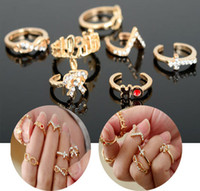 Wholesale 7Pcs Set Gold Punk Bowknot Infinity Cross Crystal Stack Knuckle Midi Mid Rings Set Ring Jewelry