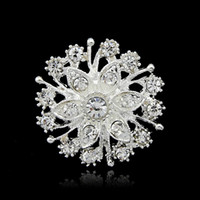 Wholesale Silver Tone Clear Rhinestone Crystal Brooch Flower Girls Corsage Fashion Brooch Wedding Bridal Bouquet Pins Brooches