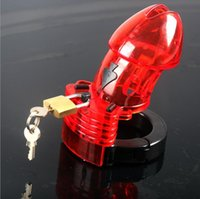 male chastity device - Health Medical Plastic Male Chastity Device Red Cock Cage Penis Lock Sexy toy for men penis sleeve cock ring