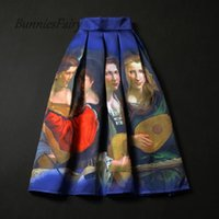 american beauty music - 2016 Spring American European Retro Music Playing Beauty Oil Painting Canvas Print High Waist Pleated Skirt Navy Blue Color