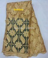Wholesale APW1336 Gold color guipure lace fabric African Swiss Voile Lace High Quality Cotton