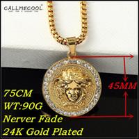 hip hop jewelry - fashion K Gold Plated Medusa Head Necklace Big Long chain Rhinestone Medusa Pendant bar hip hop jewelry men women gift