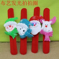 Wholesale New Hot Selling Christmas Gift Xmas Santa Claus Snowman Toy Slap Pat With LED Light Circle Bracelet Wristhand Decoration Ornament B3850