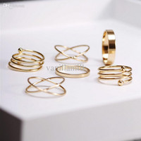 Cheap Wholesale-punk gold plated stackable Knuckle midi rings for women Finger Ring bague Ring Set anillos mujer anel