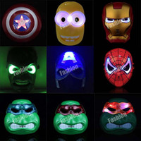 masquerade decorations - 2015 The Avengers LED Mask Mix Halloween Props Glow Flash Full Face Film Masks for Masquerade Minions Batman American Iron Party Decorations