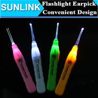Wholesale Ear Cleanser Earwax Spoon Clean LED Light Flashlight Earpick per DHL Shipping Free