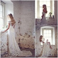 anna bridal - 2015 Vintage Lace Wedding Dresses Anna Campbell A Line Sexy Backless Appliques Beads Bridal Gowns Capped Sleeves Custom Made Beach Garden
