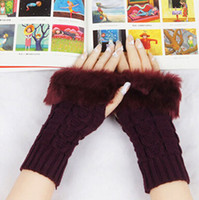Wholesale Hot Sales Lady Women Winter Knitted Fingerless Faux Rabbit Fur Wrist Hand Warmer Gloves Mitten Fx269