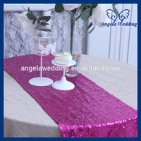 Wholesale RU017K Many colors available custom made Wedding beaded hot pink fuchsia sequin table runner