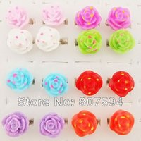 Wholesale 24pcs Flower With Leaf Ring Red Black White Colors Rose Ring Adjustable mixed colow fashion rose ring JR22