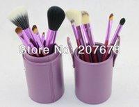 Wholesale 12 Goat Hair Purple Pro Cosmetic Makeup Brushs Set Kit With Purple Bucket Holder Case