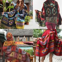 Wholesale 2015 retail fashion Top New Women Cape Poncho Shawl Scarf Tribal Fringe Hooded Bohemian Coat Jacket