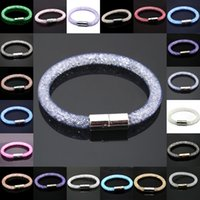 Wholesale 12pcs New Stardust Bracelets Mesh Chain With Full Resin Crystal Inside Magnetic Wrap Bracelet Charm Bracelet Color U Pick DH JDB001